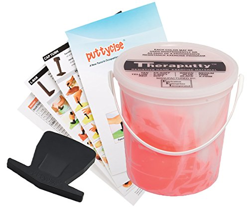 TheraPutty Standard Exercise Putty Red 5 LB + Puttycise Key Turn TheraPutty Exercise Tool + Manual Bundle by Theraputty