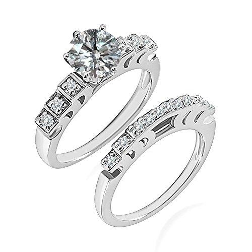 0.99 Carat G-H I2-I3 Diamond Engagement Wedding Anniversary Halo Bridal Ring Set 14K White Gold ()