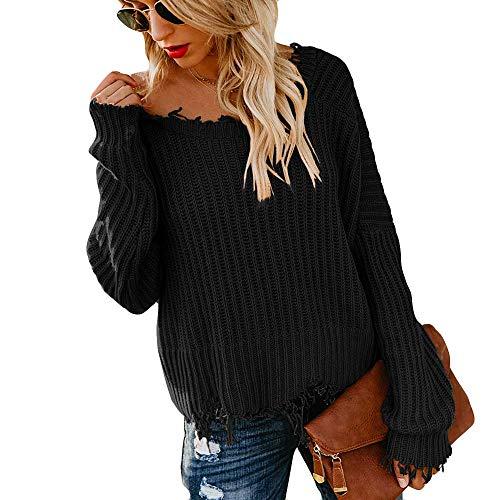 Byyong Women Casual V-Neck Long Sleeve Knitted Pullover Loose Sweater Jumper Short Tops(S, Black) (Best Tv Doorbuster Deals)