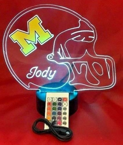 Michigan Wolverines NCAA College Football Helmet Light Lamp Light Up Table Lamp LED With Remote, Our Newest Feature - It's WOW, With Remote 16 Color Options, Dimmer, Free Engraving, Great Gift ()