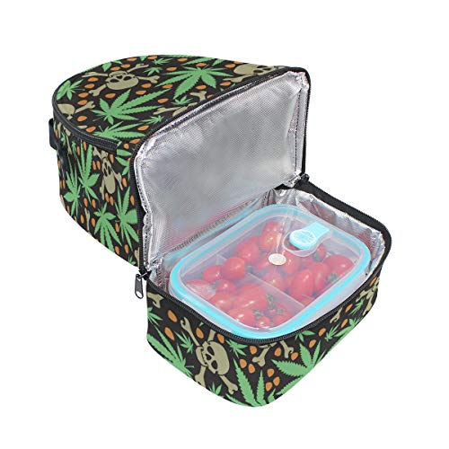 ajustable Bolsa de pincnic y diseño con con escuela hombro almuerzo calaveras Alinlo de la aislamiento con de el para correa para hojas fFdOwxq