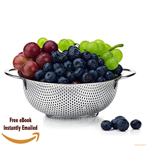 Pasta Strainer Stainless Steel, Best Food Colander 1.5 Quart, Micro Perforated, Metal, with Handles, For Spaghetti, Rice,Orzo,Vegetables &Fresh Fruits Salad+BONUS (Cooking recipe E-Book)