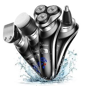 Hatteker Electric Shaver For Men Rotary Shaver Electric Razor Beard Trimmer Nose Hair Trimmer Cordless Wet Dry Face Brush 4 In