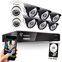 TIGERSECU 1080P 8-Channel Video Security Camera DVR System, 1TB Hard Drive - Six 2.0mp Outdoor and Two Indoor Cameras, 65ft/50ft Night Vision (White)
