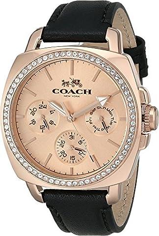 COACH Women's Boyfriend 40MM Leather Strap Watch Rose Gold/Black Watch (Coach Women Gold Watch)