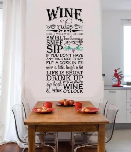 Wine Rules Vinyl Decal Wall Sticker Words Letters Home Kitchen Decor Grapes