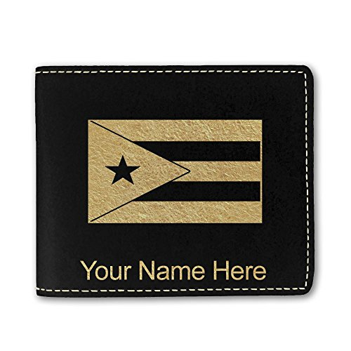 Faux Leather Wallet, Flag of Puerto Rico, Personalized Engraving Included (Black) ()