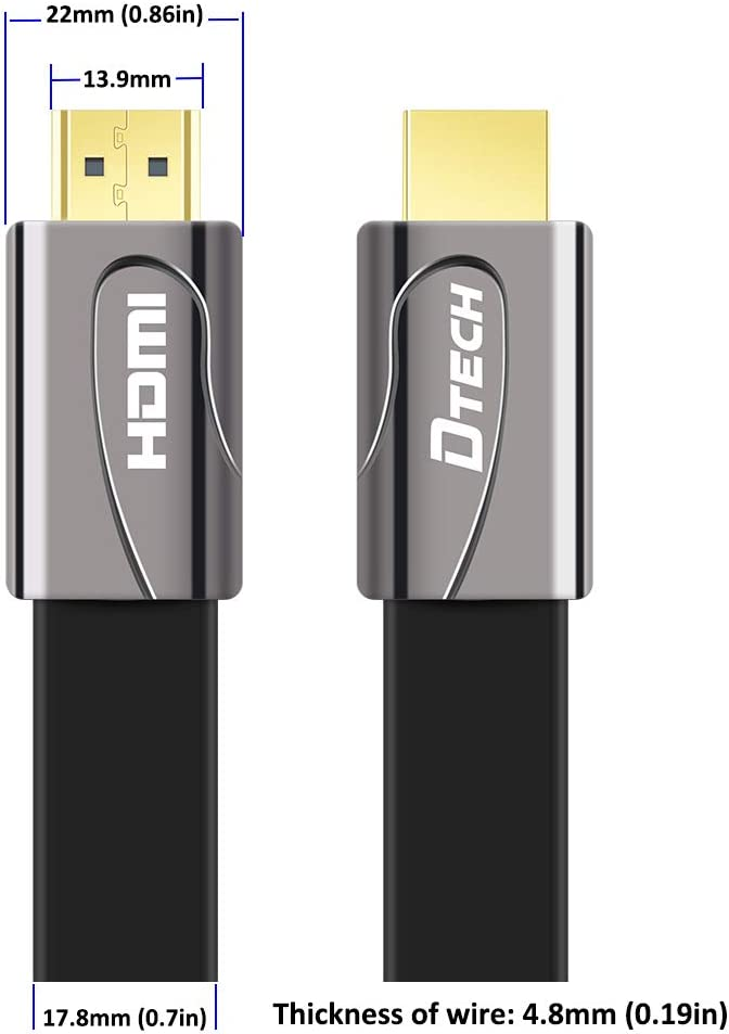 10 Meters, Black DTECH 32ft Flat High Speed HDMI 2.0 Cable 4K 30Hz Ultra HD 1080p 3D with Ethernet HDCP ARC Support 26AWG Video Cord