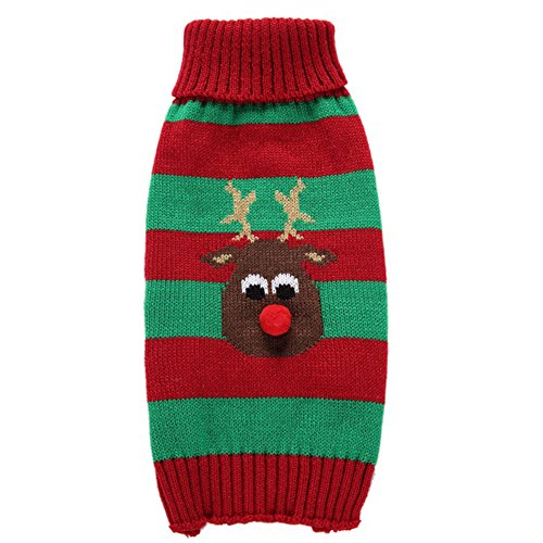 Moolecole Puppy Dog Christmas Knitted Sweater Reindeer Sweat