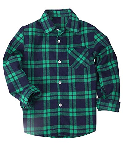 Kids Long Sleeves Button Down Flannel Cotton Plaid Shirt Tops for Big Boys, Green, 11-12 Years = Tag 180