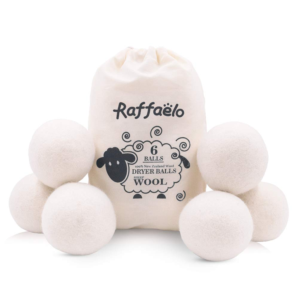 Wool Ball, Raffaelo Wool Dryer Balls XL Premium Reusable Natural Fabric Softener Pet Fur Hair Remover - Set of 6PCS (White)