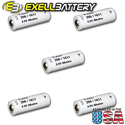 5pc Exell 206A Alkaline 9V Battery 110mAh NEDA 1611, H-7D, H-6D by Exell Battery
