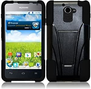 Pleasing Black Premium Double Protection 2 in 1 Hard + Silicon Hybrid Challenger Case Cover Protector with Kickstand for Huawei Premia 4G LTE M931 (by Metro PCS) with Free Gift Reliable Accessory Pen