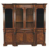 Large Mahogany Burled Breakfront China Cabinet