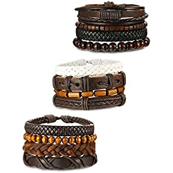 ORAZIO 12Pcs Wooden Beaded Bracelet Leather Braided Bangle for Men and Women Elastic 5-8MM Beads (12Pcs)