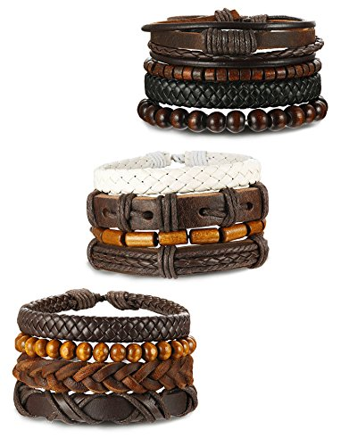 ORAZIO+12Pcs+Wooden+Beaded+Bracelet+Leather+Braided+Bangle+for+Men+and+Women+Elastic+5-8MM+Beads+%2812Pcs%29