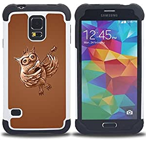 Dragon Case- Dise?¡Ào de doble capa pata de cabra Tuff Impacto Armor h??brido de goma suave de silicona cubierta d FOR Samsung Galaxy S5 I9600 G9009 G9008V- BIRD FOREST OWL FLYING LOVE MUSIC GUITAR