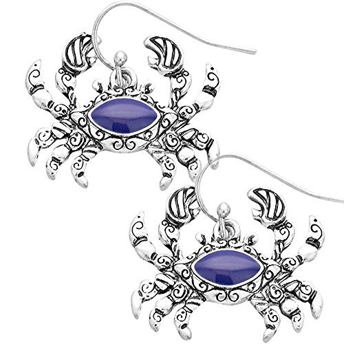 Liavy's Antique Crab Fashionable Earrings - Blue Enamel - Vine Filigree - Fish Hook - Unique Gift and Souvenir