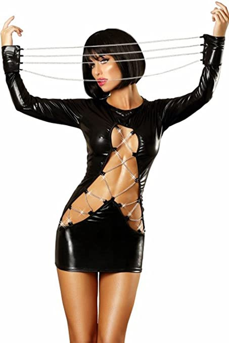 Amazon.com: XSQR - Traje sexy de piel sintética para mujer ...