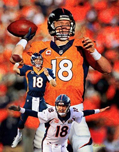 (Peyton Manning Denver Broncos NFL Football QB Quarterback Art Print 11x14-24x30)