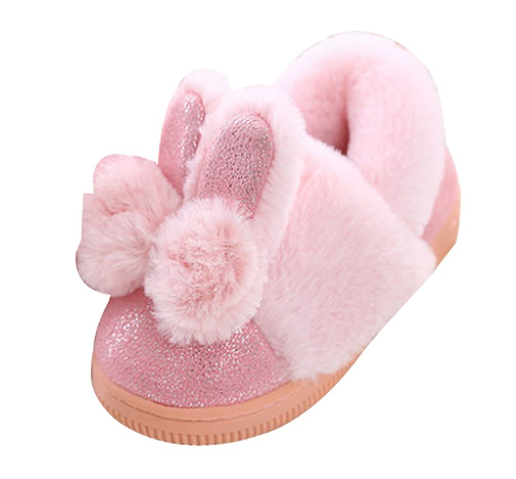 Cattior Toddler Little Kid Cute Fur Lined Kids House Shoes Bunny Slippers