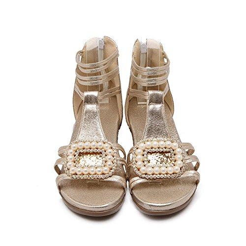 Women's Zipper Low Open Solid Sandals Soft heels Gold Toe WeenFashion Material dTfdU