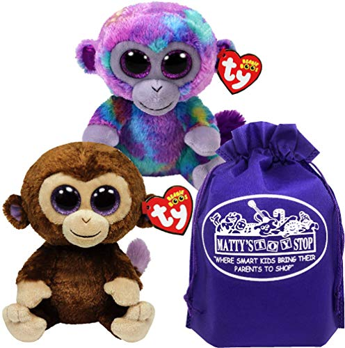 Ty Beanie Boos Zuri (Multi-Color Monkey) & Coconut (Brown Monkey) Gift Set Bundle with Bonus Matty's Toy Stop Storage Bag - 2 Pack
