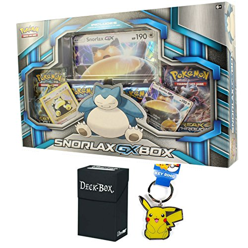 Pokemon Snorlax GX Premium Collection Box with Snorlax GX Promo Card, Oversized Jumbo Snorlax GX Card, Snorlax Rare Holo, 4 Pokemon Booster Packs, Pikachu Keychain and Ultra Pro Deck Box Bundle (Mini Deck Prism)