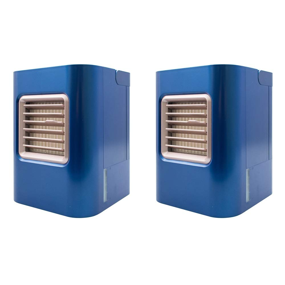 IDI AC-01X Portable Mini Air Cooler - Navy Blue (2 Pack), 3 Level Speed Mode Desktop Air Purifiers, Metallic Color Series Air Conditioner
