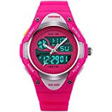 TONSHEN LED Sport Digital Waterproof Watch for Boy Girl Student and Children, Outdoor Electronic Military 12H/24H Time Dual Timezone 50M Water Resistant Alarm Backlight Stopwatch Date Watches - Red