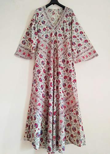 Red & Blue Kalamkari style Floral Vine Anokhi Hand block print Indian cotton Afghan style Maxi Dress
