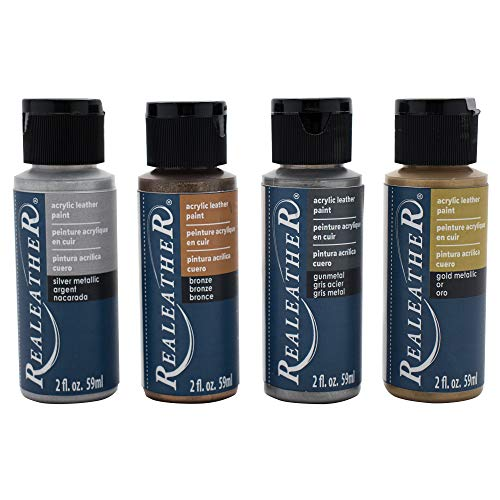 Realeather F2604-01 Leather Acrylic Paints, Metallics 4 Piece