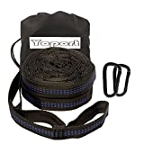 XL Hammock Straps - Adjustable 21 Loops Each , Non-Stretch, Easy Setup, Heavy Duty, Tree Friendly - 100% No Stretch Suspension System Kit- Extra 2 Carabiner Kit for Your Buying Choice (black+blue)