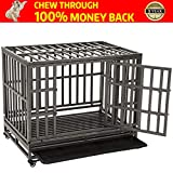 KELIXU Heavy Duty Dog Cage Strong Dog Kennels and Crates for Large Dogs Indoor/Outdoor with Locks and Lockable Wheels,38INCH,Black