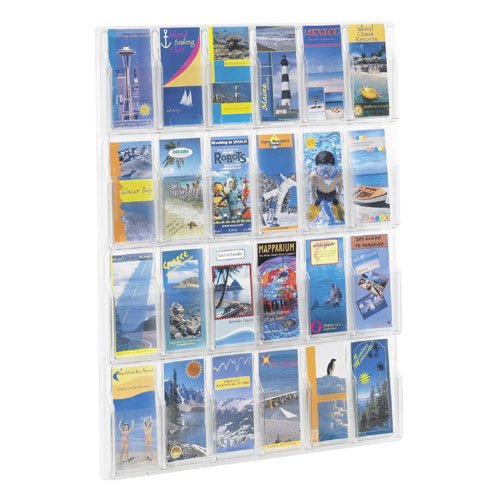 Safco Model 5601CL 24 Pocket ''Reveal'' Plastic Wall Brochure & Pamphlet Rack from ABC Office by Safco