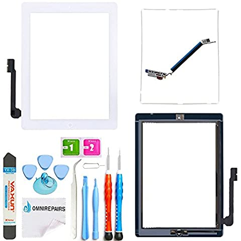 Omnirepairs-For iPad 3 (3rd Generation) Touch Screen Glass Digitizer Replacement, Home Button OEM Assembly, Midframe Bezel, Pre-installed Adhesive Tape, Screen Protector with Tools (Ipad 3 Home Button Cable)