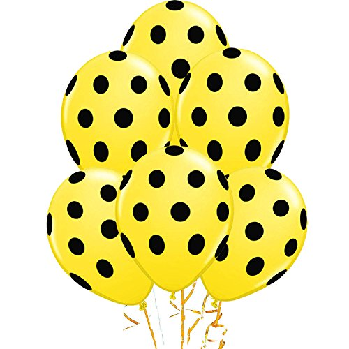 Polka Dot Balloons 11in Premium Yellow with All-Over print Black Dots Pkg/25 -
