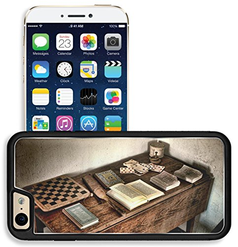 Liili Apple iPhone 6 iPhone 6S Aluminum Backplate Bumper Snap iphone6/6s Case iPhone6 IMAGE ID 32343671 Antique child play wood desk with ancient books and old games of vintage checkerboard (Antique Checkerboard)