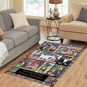 """Love is Being Owned American Staffordshire Terrier Dog Grey Polyester Area Rug Mat (2'7""""x 1'8'') 2"""