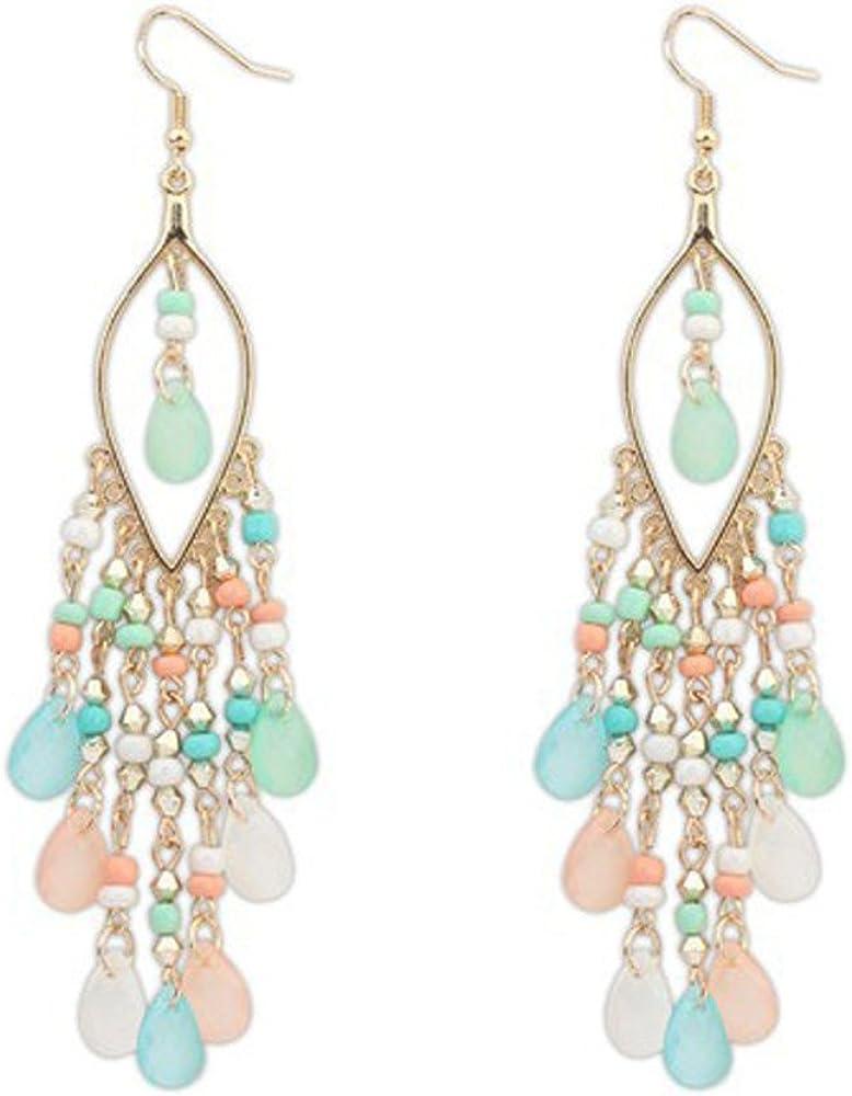 Yivise Pendientes Mujeres Bohemian Big Circle Hook Earrings Cuentas de Colores Gotas para Los Oídos Cuelgan Borlas Fashion Ethnic Earrings