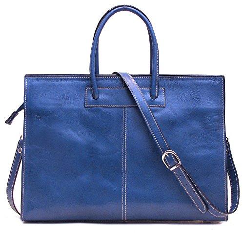 Floto Monteverde Bag - Women's briefcase in Blue Italian Calfskin Leather