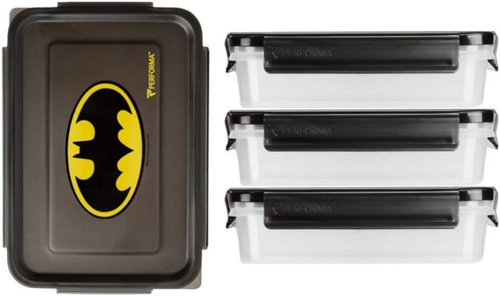 Performa Meal Prep Containers - Easy to Use and Durable Food Containers to Accommodate Your Daily Meal Prepping Needs (6 Piece Containers)(24oz) (Batman)
