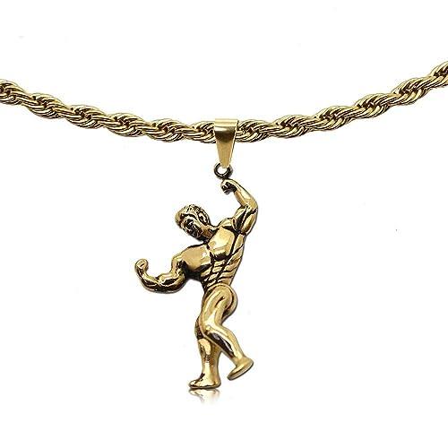 tumundo Collar Cadena Rey 65cm Eslabones Link + Colgante Gimnasia Guante de Aptitud Deporte Boxeo Mancuernas Plata Oro, Color:Oro: Amazon.es: Joyería