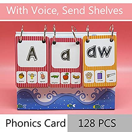 Richardy 128Pcs/set English Phonics Baby Flash Cards Alphabet Kids Learning  English Toys for Children Kindergarten