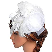 STEVE YIWU Women's Vintage Bride Hat Feather Wedding Party Bridal Hair Tiaras