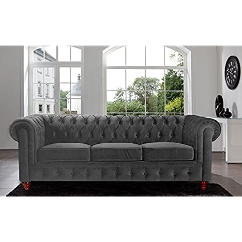 Elegant Divano Roma Furniture Velvet Scroll Arm Tufted Button Chesterfield Style  Sofa, Grey