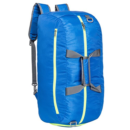 Riavika Travel Duffel Bag Backpack Luggage Gym Sports Bag with Shoe Compartment for Men & Women-Blue