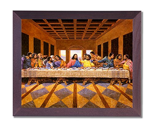 African American Black The Last Supper Jesus Christ Religious Picture Framed Art ()