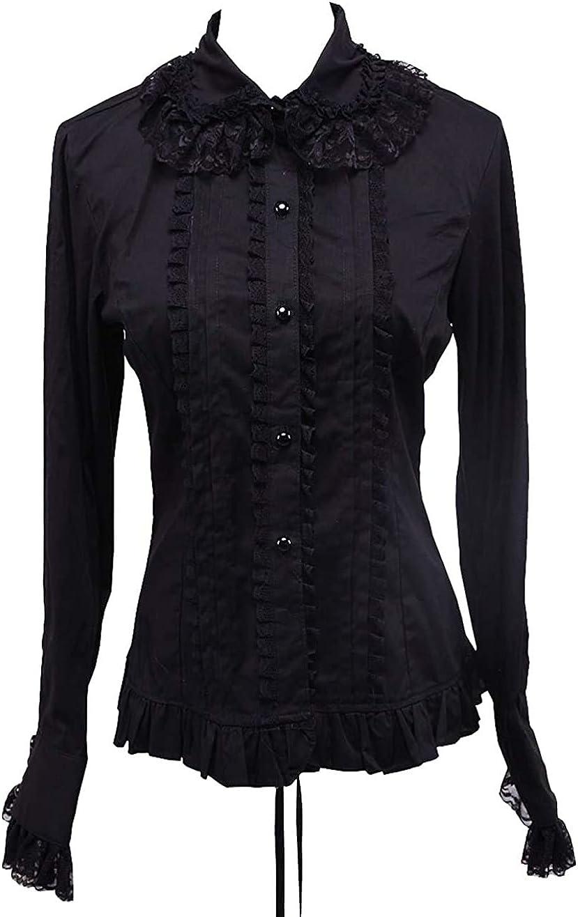 an*tai*na* Negra Algodón Volantes Encaje Vintage Gotica Lolita Casual Camisa Blusa de Mujer: Amazon.es: Ropa y accesorios