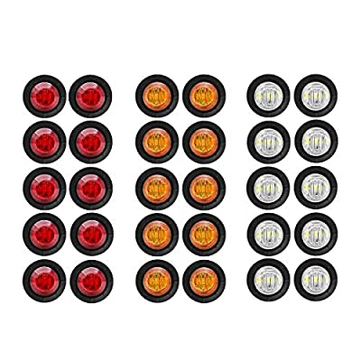 """30 Pcs TMH 3/4"""" Inch Surface Mount 10 pcs Amber + 10 pcs Red + 10 pcs White LED Clearance Markers Bullet Marker lights, side marker lights, led marker lights, led trailer marker lights"""